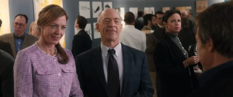 Keith Michaels (Hugh Grant) regales Dr. Weldon (Allison Janney) and Dr. Lerner (J.K. Simmons) with his unorthodox take on the merits of Jane Austen's body of work, drawing the scandalized glares of bystanders in the process.
